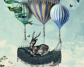 Deer print - Flight of the Stag Limited Edition Giclee print - hot air balloon print deer painting deer art deer poster air balloon poster