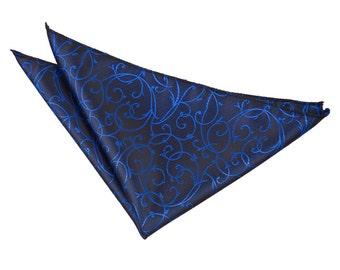 Swirl Black & Blue Handkerchief / Pocket Square