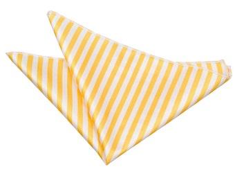 Thin Stripe White & Yellow Handkerchief / Pocket Square