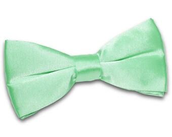 Satin Mint Green Bow Tie