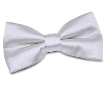 Satin Silver Bow Tie