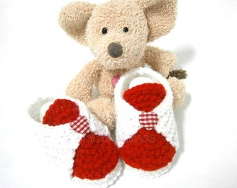 White and red baby booties 0/1 month Tricotmuse
