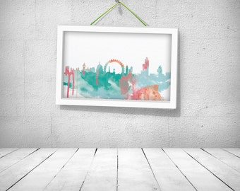 London Watercolor Poster -digital file - instant download!