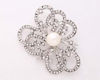 Crystal Pearl Brooch, Silver Rhinestone Brooches, Silver Wedding Brooch, Brooches for Bouquet, Bridal Brooch, Rhinestone Dress Sash Brooch