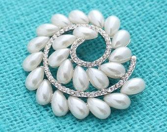 Pearl Brooch Rhinestone Wedding Bridal Bridesmaid Broaches Dress Sash Boutonniere Necklace DIY Jewelry Crafts Crystal Pearl Broaches