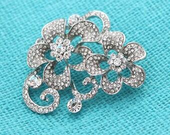 Rhinestone Brooch, Silver Wedding Brooch, Bridal Brooch, Bouquet Brooches, Diamante Rhinestone Brooches for Wedding, Rhinestone Pin
