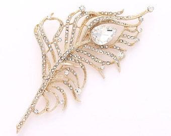 Rhinestone Feather Brooch, Gold Wedding Bridal Bridesmaids Dress Sash Crystal Gold Broach, Gold Cake Brooch, Rhinestone Gold Broaches