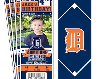 12 Detroit Tigers Birthday Party Ticket Invitations - Officially Licensed by MLB