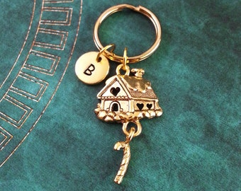 Gingerbread House Keychain, Personalized Keychain, Gingerbread House Keyring Custom Christmas Keychain Holiday Gift Candy Cane Keychain