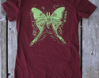 Original handmade woodblock T-shirt of a Luna Moth