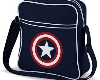 Captain America Marvel Comics Sheild Design Retro Shoulder Flight Messenger Bag Navy Blue