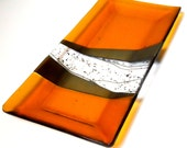 Amber Art Glass Platter or Tray, Iridized Gold and Black Accents 7 x 14 Inches