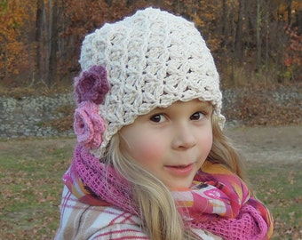 Beanie flower hat  - crochet girl hat, cream white with pink flowers, READY to SHIP, size SMALL
