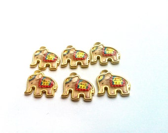 Circus Elephant Charm Cream and Gold 6pcs