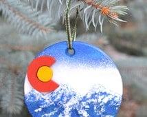 Colorado Flag Sculpted Christmas Ornament