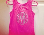 Glitter or Solid Monogrammed Shirt/Onesie for Child/Baby/Toddler WHITE SHIRT ONLY