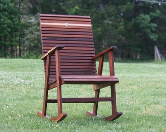 Handcrafted Mahogany Outdoor Rocking Chair