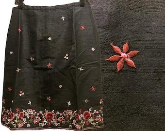 Black raw silk skirt #20
