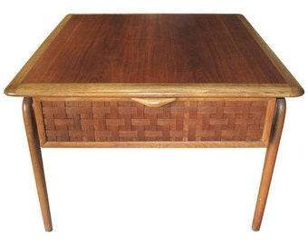1960s Basket Weave Front Walnut and Oak Side Table with Single Drawer