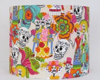 Handmade Lampshade Cream Los Novios Mexican Day of the Dead Skull Skeleton 20cm 25cm 30cm Lightshade Novelty