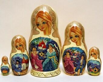 Russian Matryoshka 5p Cinderella Exclusive handmade gift Matreshka Nested Doll