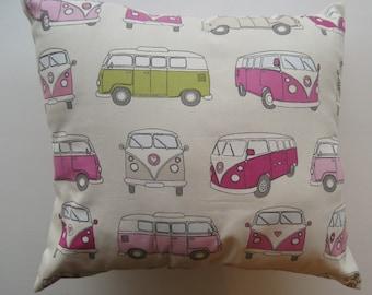 Pink Camper Van Cushion Cover