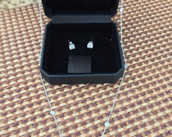 Sterling silver chain with crystal accents and cubic zirconia earrings set