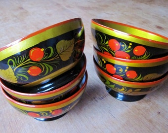 Genuine 1970's Russian Folk Art Khokhloma Style, 6 Hand Painted Vintage Wooden Bowls - Made in USSR