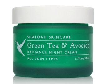 Night Cream with Green Tea & Avocado | Natural Moisturiser | Natural Face Cream | Natural Skincare | Sensitive Skin Cream | Paraben Free