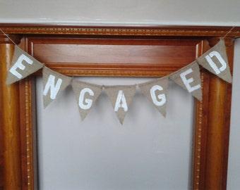 Rustic Wedding Bunting, ENGAGED Wedding Banner, Burlap Banner, Hessian Bunting.