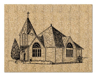 Country Church Clip Art Instant Digital Download for Iron On Transfer Scrapbooking Pillows T Shirt Card Making