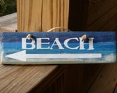 """Rustic """" BEACH"""" with Arrow to left , Hand Painted Wooden Sign (Beach house salty decor)"""