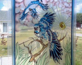 "Bluejay Window Hanging Artwork ""Stained Glass"" Digital Style Transparent Print"