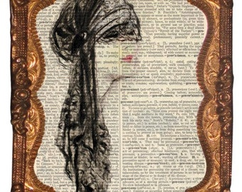 Vintage European woman in black vail print on 8x10 upcycled dictionary page