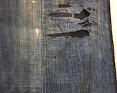 japanese antique two panel indigo boro flagment scarf