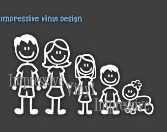 Vinyl Decal Basic Stick Family Custom  Sticker Car Vehicle up to 5 Family Members