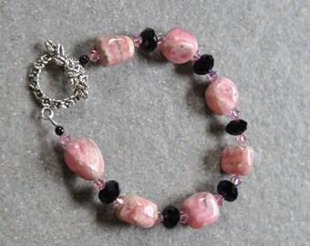 Sterling silver, Rhodocrosite & Swarovski crystal Bracelet