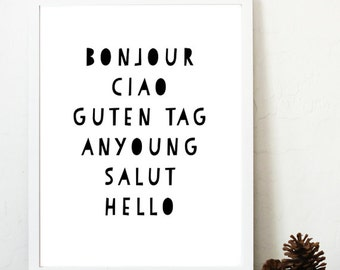 nursery art printable / Hello in different languages digital print / children's art / Bonjour Ciao Guten Tag Anyoung Salut Hello