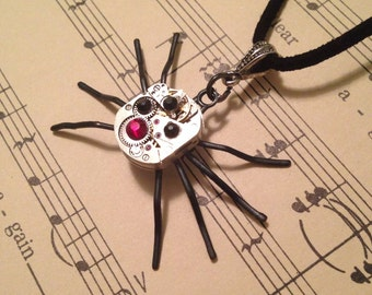 Steampunk/ Goth spider necklace