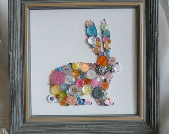 Easter Bunny Rabbit Button & Bead Wall Art 8x8 ~ Buttons, Beads, Swarovski Crystals - Made To Order