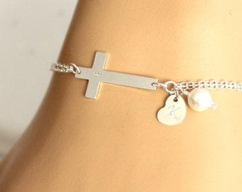 Sideway Cross Bracelet, Personalized Bracelet, Heart Initial Charm and Birthsone Bracelet, Mother bracelet, Friendship, Bridesmaid Gift