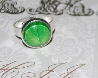 Adjustable ring green leaf