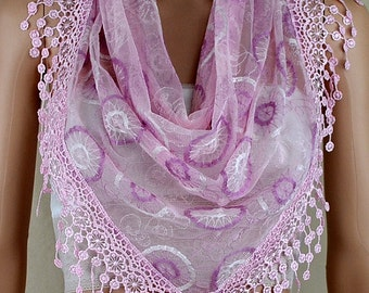 Pink purple lace triangle scarf, three-dimensional embroidery lace fringe scarf, shawl