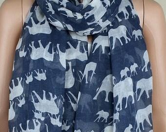 Gray cotton leisure scarf, lucky elephant print scarves, shawls, collar