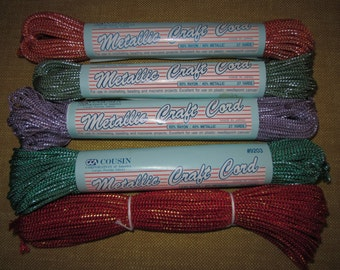 Metallic craft cord, 5 pks.,red/gold,teal/silver,green/silver,orange/silver, lavender/silver,macrame,needlepoint,plastic canvas