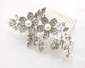 Bridal Head Piece, Crystal Pearl Comb, Bridal Hair Pin, Wedding Hair Accessories, Bride Hair Comb, Gatsby Old Hollywood Wedding Jewelry