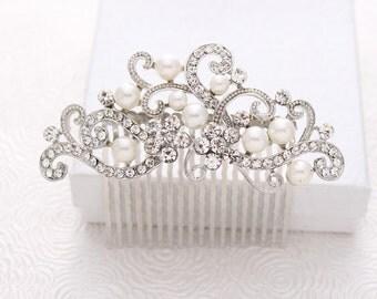 Wedding Hair Accessory, Rhinestone Bridal Hair Pin, Vintage Wedding Hair Clips, Crystal Pearl Hair Piece, Silver Hair Jewelry, Crystal Combs