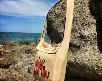 "Ecofriendly Sling Shoulder Bag hand-made of Jute - ""Blossom Red Flowers"""