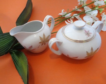 Royal Ming Maple Leaf China Creamer and Sugar Bowl Set 1950s