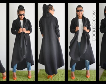 Maxi Black Coat, Extravagant Coat, Black Warm Coat, Asymmetric Coat, Loose Wool Coat, Loose Trench Coat, Winter Loose Coat